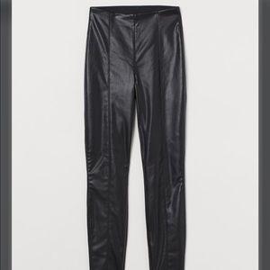 H&M Black Leather Panel Leggings